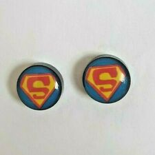 SuperHero SuperMan Round Magnetic fake earrings style Mens Boys Womens Girls