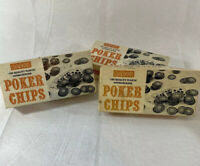 3 Boxes Of Vintage Baron Poker Chips - Red, White, Blue - Gambling, Man Cave
