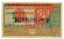 Indonesia  ... P-47 ... 500 Rupiah ... ND(1957-58) ... *VF*  Local issue signed.