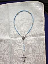 BABY ROSARY, SWAROVSKI Crystal PEARL LIT BLUE  4mm, Pope Francis Center  *NEW**