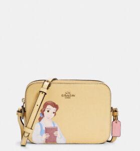 NWT - COACH X Disney Mini Camera Bag With Belle Vanilla Cream Leather C3404