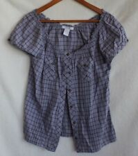 Charlotte Russe Cap Sleeve Casual Button Down Blouse/Top Size M