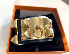 NEW HERMES CDC Collier De Chien Bracelet NOIR BLACK GOLD HARDWARE BIRKIN KELLY