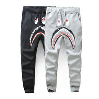 Men's Bape A Bathing Ape Shark Head Patchwork Camo Sweatpants Jogging Long Pants