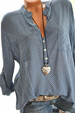 ITALY MODA Tunika Oversize Hemd DOTS Bluse Fischerhemd 40 42 44 JEANSBLAU Neu