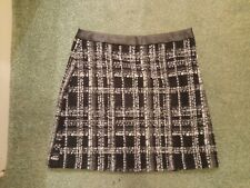 LADIES SIZE 10 LINED CHECK SKIRT WITH LEATHER EFFECT TRIM