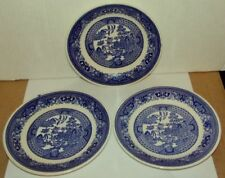 3 VINTAGE WILLOW WARE BY ROYAL CHINA SAUCERS - UNDERGLAZE B53.