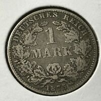 1875-B GERMANY SILVER ONE MARK NICE COIN