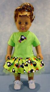 18 Inch Doll Clothes - Lime Green Toucan Outfit handmade by Jane Ellen