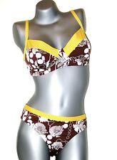 TRIUMPH Ensemble bikini - 85 C + 44 TAI - marron jaune blanc col M003/T5 NEUF