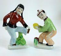 Vintage Made in Japan Japanese Ceramic Porcelain Dancing Figurines Boy & Girl