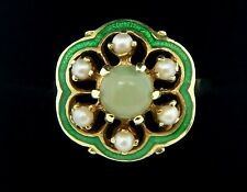 Vintage 14k Yellow Gold Green Enamel Jade and Seed Pearl Ring Size 8 1/4