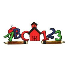 ID 0935 School House ABC 123 Kids Type Embroidered Iron On Applique Patch