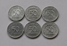 WEIMAR: Komplettsatz 50 Pfennig 1921, J. 301, A-D-E-F-G-J, stempelglanz !!!