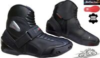 REAL LEATHER HIGH TECH MENS SHORT MOTORBIKE MOTORCYCLE RACING SPORTS SHOES BOOTS