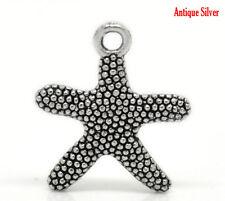 6 Pc Antique Silver Starfish Charm Pendants 21x19mm LC3128