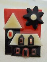 Vintage HOUSE PINS BY LUCINDA Mixed Materials House Flower Pin Brooch