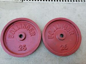 """Bollinger barbell 25 LB Standard size weight Plates 1"""" Weights used 25lb vintage"""