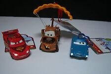 New Disney Store 2011 Cars 2 Mater Finn McMissle Lightning McQueen Ornament Set