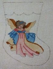Needlepoint canvas small Christmas stocking with Angel
