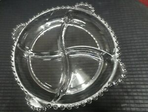 """Vintage Candlewick Four Part Relish Dish 9.5"""" Imperial Glass Ohio"""