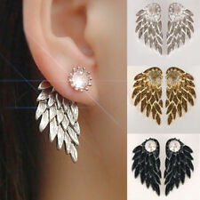 EPIC Gothic Punk Jewelry Angel Wings Rhinestone Drop Stud Earrings