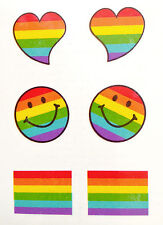 Rainbow Pride smiley hearts temporary Tattoo boys girls 1 sheet  TY275