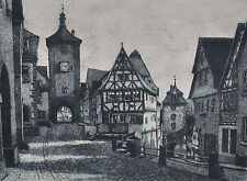 Rothenburg Tauber Plönlein gerahmte Radierung sign. Geissendörfer, nummeriert