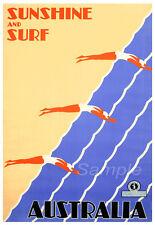 Vintage Australie Soleil Et Surf Voyage A4 Poster Print