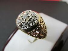 18k Solid Yellow Gold Men's 7 Diamond Cluster Design Ring Size 9.75