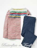 NEW MINI BODEN 2pc Outfit Set Fun Detailed Breton Top Cropped Leggings Girls 7-8