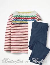 NEW MINI BODEN 2pc Outfit Set Fun Detailed Breton Top Cropped Leggings Girls 7-8
