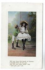 Girl On Swing - Photo Postcard c1905 / Children