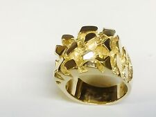 10kt Solid Yellow gold Men's nugget design fashion ring 27 grams 25MM