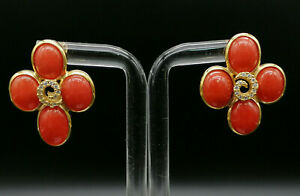 orecchini corallo rosso autentico da donna argento 925 GIOIELLO ITALIANO