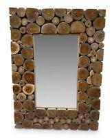 Wand Spiegel 80 x 60 cm Teak Holz Badezimmer Flur Dielen Holzspiegel eckig natur