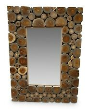 Wall Mirror 80 X 60 CM Teak Wood Bathroom Hall Floorboards Wooden Square Natural