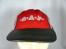 GAP Red 65% wool Blend Baseball Cap Hat Adjust in Back Leather Brim