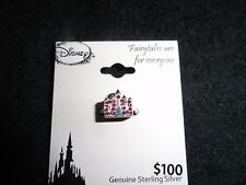 NEW DISNEY STERLING HAPPILY EVER AFTER CASTLE BEAD CHARM PINK CRYSTALS >>L@@K<<