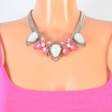 Kette Halskette Blumen Statement Collier Blogger Schmucksteine Vintage Pink Neu