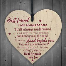 Best Friend Gift Friendship Plaque Wooden Heart Birthday Thank You Keepsake Poem