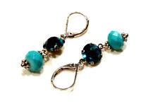 Bijou boucles d'oreilles pendantes perle et cristal alliage argenté  earring
