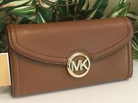 MICHAEL KORS FULTON LARGE FLAP CONTINENTAL WALLET CLUTCH LUGGAGE BROWN LEATHER