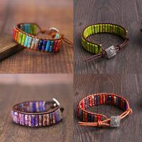 traitement 7 chakra la pierre naturelle bracelet en cuir. perles bracelet tube