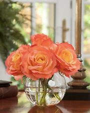 $179 Flame Orange ROSE NOSEGAY Silk Flower Arrangement Acrylic Water Glass Vase