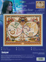 """Platinum Collection Olde World Map Counted Cross Stitch Kit-18""""X15"""" 14 Count"""
