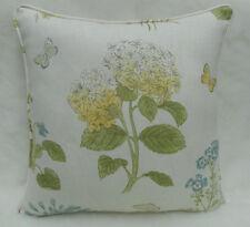 Sanderson Fabric Cushion Cover 'Harebells & Violets' Lemon/Teal - 100% Linen