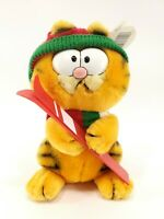 """Vintage Garfield Cat Skiing 7"""" Plush Stuffed Animal Toy 1980's with Tag New"""