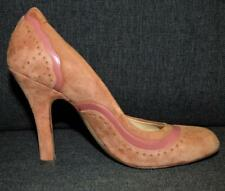 VINTAGE robert & hall OCHRE suede leather heels 7 shoes BUY 3+ ITEMS = FREE POST