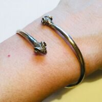 Double Ram Head bangle bracelet. Sterling silver with gold vermeil. Stamped 925